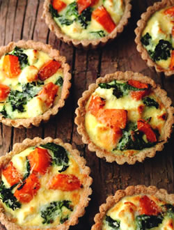 Roasted Squash Spinach and Goats Cheese Tartlets Vegetarian