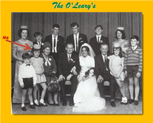 Click to enlarge. From back left: Rita, Frank, Tommy, Eugene, Sean, Una. From front left: Liam, Annette, My Mother Evelyn, my new brother in law Harry, Angela, My Father John, Evelyn, Seamus