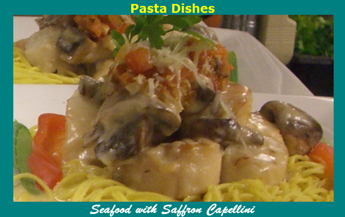 O'Leary's Kitchen Pasta Dishes Seafood with Safron Capellini